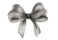 Black gift bow. Watercolor drawing.