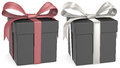 Black gift box matte red and silver ribbons Stock Photography