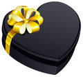Black gift close box heart shape Royalty Free Stock Photo
