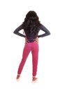 Black girl in pink tights from back a lovely tall young african american woman and long curly hair standing the isolated for white Stock Photography