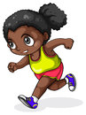 A black girl running illustration of on white background Royalty Free Stock Images