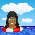 Black girl swimming Stock Photo