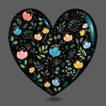 Black Glared Heart with Watercolor Flowers