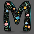 Black Glared Symbol M with Watercolor Flowers