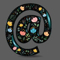 Black Glared Symbol At with Watercolor Flowers