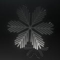 Black glass snowflake on black Stock Photo