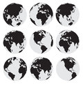 Black globe earth vector icon set Royalty Free Stock Photo