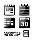 Black glossy calendar icon set Royalty Free Stock Photo