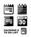 Black glossy calendar icon set Royalty Free Stock Photo