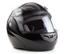 Black, glossy motorcycle helmet Royalty Free Stock Photography