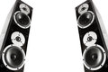 Black glossy music speakers pair of high gloss isolated on white background Stock Images