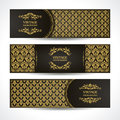 Black and gold banners. Vintage ornamental template with damask pattern decorative frame Royalty Free Stock Photo