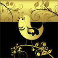 Black and gold bird, vector Royalty Free Stock Photo