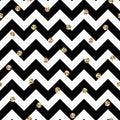 Black and Gold Chevron and Polka Dots Seamless Pattern