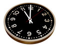Black and gold clock on white Royalty Free Stock Photography
