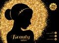 Black and Gold Fashion Woman with Hair Bun.