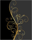 Black and gold floral background Stock Images