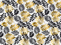 Black and gold luxury tropical leaves seamless pattern.