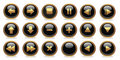 Black and golden buttons Royalty Free Stock Photo