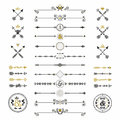 Black and golden hand drawn arrows and dividers icons set Royalty Free Stock Photo