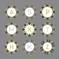 Black and golden monograms circle pattern emblems set