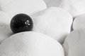 Black golf ball and white stones Royalty Free Stock Photo