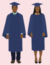 Black graduates african american or couple wearing cap and gown for graduation Stock Photo