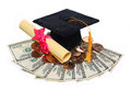Black graduation cap and degree with money isolated Stock Images