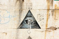 Black graffiti on a white wall all seeing eye color dslr image of with stylized horizontal with copy space for text Stock Photography