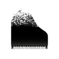 Black grand piano with flying notes, top view