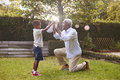 Black grandfather plays with grandson in garden, full length Royalty Free Stock Photo