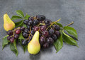 Black grapes with leaves and pears on  kitchen top Royalty Free Stock Photo
