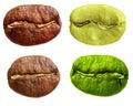 Black and green arabica, robusta coffee bean Royalty Free Stock Photo