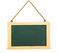 Black green chalk board with clean wooden frame with hanging rop Royalty Free Stock Photo