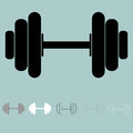 Black grey white dumbells or grips icon.