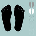 Black grey white foot or sole icon.