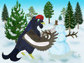 Black grouse illustration of and snow man Royalty Free Stock Image