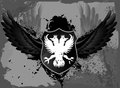 Black grunge shield with double head eagle Stock Photos