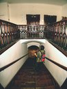 Black hair woman photographer study wooden staircase Royalty Free Stock Photo