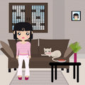 Black haired girl standing with her kitty Royalty Free Stock Photo