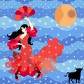Black-haired Spanish girl dressed in long red dress with flounces in form of roses and with fan in her hands, is dancing flamenco