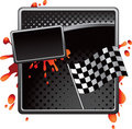 Black halftone racing checkered flag advertisement Stock Photo