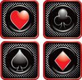Black halftone web buttons with playing card suits Royalty Free Stock Images