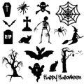 Black Halloween text on white background with spider, pumpkin, crowBlack Halloween objects on white background spider, bat, skele