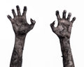 Black hand of death the walking dead zombie theme halloween theme zombie hands white background mummy hands devil Royalty Free Stock Photos