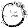 Delicate Floristic Wreath. Flower Design Frame Element Royalty Free Stock Photo