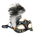 Black hand painted venice mask with feathers isolated on a white background Stock Photography