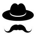 Black hat with mustache on a white background Stock Photo