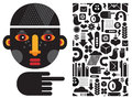Black head man and seamless pattern vector illustration Stock Images