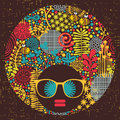 Black head woman with strange hair pattern on her vector illustration Stock Images